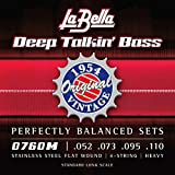 La Bella 0760M Original 1954 Flat Wound Stainless Steel 52-110, Perfectly Balanced Sets, Heavy Tension - Perfect for Professional Bass Players
